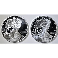 2-ONE OUNCE .999 SILVER ROUNDS WALKING LIBERTY