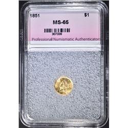 1851 $1.00 GOLD, PNA GEM BU SUPER LUSTRE