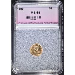 1889 $1.00 GOLD, PNA CH/GEM BU