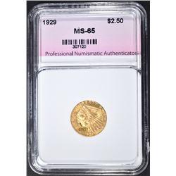 1929 $2.50 GOLD INDIAN, PNA GEM BU`