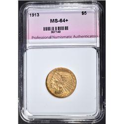 1913 $5.00 GOLD INDIAN, PNA CH+/GEM BU NICE!
