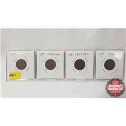 Canada One Cent - Strip of 4: 1947; 1947ML; 1947ML; 1947ML