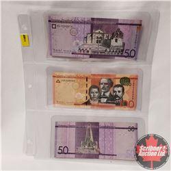 Foreign Notes (3) Banco Central de la Republica Dominicana : 50 Pesos; 100 Pesos; 50 Pesos