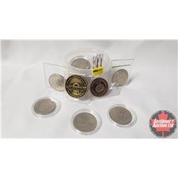 Tokens - Variety (17): Lloydminster Souvenir Dollar 1903-1963 (2); No Cash Value Carnival Token; Alb