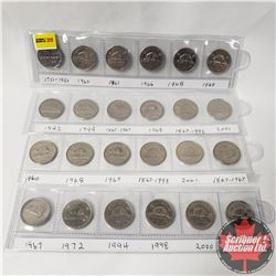 Canada Five Cent Collection (24): 1751-1951; 1960; 1961; 1966; 1968; 1969; 1942; 1949; 1867-1967; 19