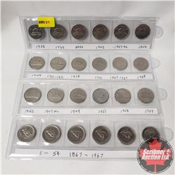 Canada Five Cent Collection (24): 1938; 1939; 1940; 1942; 1947ML; 1946; 1949; 1751-1951; 1958; 1961;