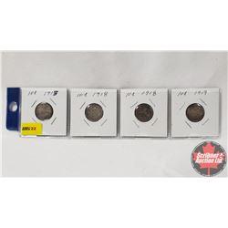 Canada Ten Cent - Strip of 4: 1913; 1918; 1918; 1919