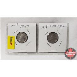 Canada Ten Cent - Strip of 2: 1947; 1947ML