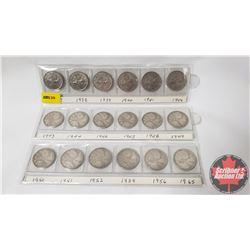 Canada Twenty Five Cent (18): 1937; 1938; 1939; 1940; 1941; 1942; 1943; 1944; 1946; 1947; 1948; 1949