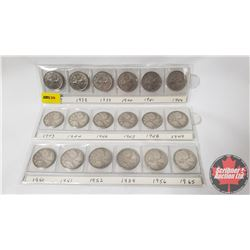 Canada Twenty Five Cent (18): 1937; 1938; 1939; 1940; 1941; 1942; 1943; 1944; 1946; 1947; 1948; 1949