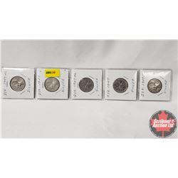 Canada Twenty Five Cent - Strip of 5: 1947ML; 1947; 1947ML; 1947; 1947ML