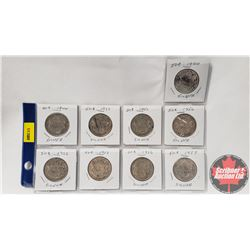 Canada Fifty Cent - Sheet of 9: 1940; 1944; 1951; 1951; 1952; 1952; 1952; 1956; 1957