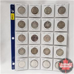 Canada Fifty Cent - Sheet of 20: 1956; 1957; 1958; 1959 (3); 1960 (3); 1961; 1962 (2); 1963 (5); 196