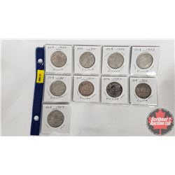 Canada Fifty Cent - Sheet of 9: 1940; 1941; 1942; 1943; 1951; 1944; 1952; 1952; 1953