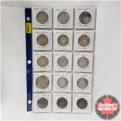 Canada Fifty Cent - Sheet of 15: 1959; 1960; 1961; 1962; 1963 (4); 1964; 1965 (2); 1966; 1974S (2);