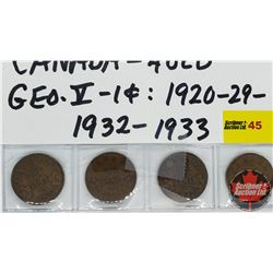 Canada One Cent - Strip of 4: 1920; 1929; 1932; 1933