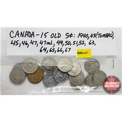 Canada Five Cent - Strip of 15: 1940; 1943; 1945; 1946; 1947; 1947ML; 1949; 1950; 1951; 1952; 1963;