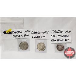 Canada Fifty Cent - Strip of 3: 1954; 1965; 1994