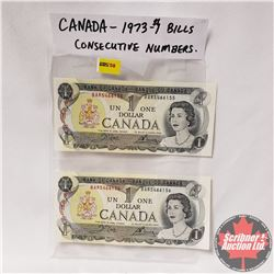 Canada One Dollar 1973 Crow/Bouey (2 Sequential) : BAR5466155/156