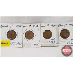 Canada One Cent - Strip of 4: 1967; 1968; 1969; 1971