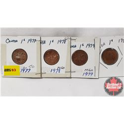 Canada One Cent - Strip of 4: 1977; 1978; 1979; 1981