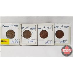 Canada One Cent - Strip of 4: 1977; 1978; 1979; 1984