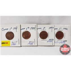 Canada One Cent - Strip of 4: 1981; 1984; 1990; 1992