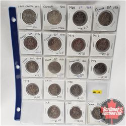 Canada Fifty Cent - Sheet of 18: 1940; 1966; 1968; 1969; 1970; 1971; 1972; 1973; 1974; 1975; 1975; 1