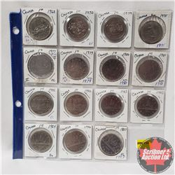 Canada One Dollar - Sheet of 15 : 1968; 1970; 1974; 1975; 1977; 1979; 1980; 1981; 1982; 1982; 1983;