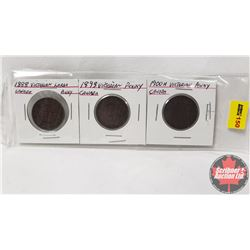 Canada Large Cent - Strip of 3: 1888; 1893; 1900H
