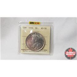 Canada One Dollar 1936 (ICCS Cert AU-50) (Scratch)