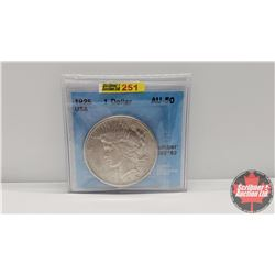 "USA One ""Peace"" Dollar 1925 (CCCS Cert AU-50)"