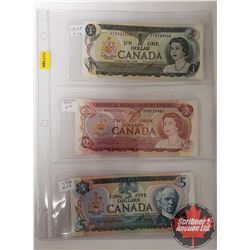 Canada Bills - Sheet of 3 - Lawson/Bouey : $1 Bill 1973 ; $2 Bill 1974 ; $5 1979