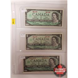 Canada $1 Bills 1967 Beattie/Rasminsky - Sheet of 3: Centennial; Centennial; Replacement *BM1661518