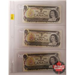 Canada $1 Bills 1973 - Sheet of 3 : Crow/Bouey; Lawson/Bouey; Lawson/Bouey