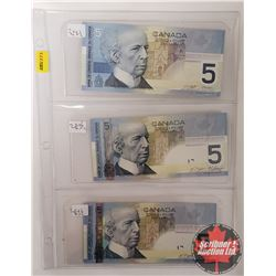 Canada $5 Bills - Sheet of 3: 2002; 2006; 2006