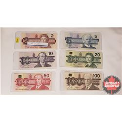 "Canada Bills ""Bird Series"" (6 Bills) : 1986 $2; 1986 $5; 1989 $10; 1991 $20; 1988 $50; 1988 $100"