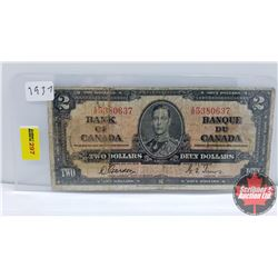 Canada $2 Bill 1937 Gordon/Towers XB5380637