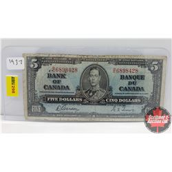 Canada $5 Bill 1937 Gordon/Towers RC6898428