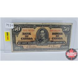 Canada $50 Bill 1937 Gordon/Towers BH0136579