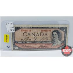 Canada $2 Bill 1954DF Beattie/Coyne EB9046543 (Note: Miscut)