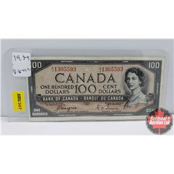 Canada $100 Bill 1954DF Coyne/Towers AJ1305593