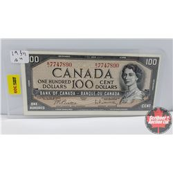 Canada $100 Bill 1954 Beattie/Rasminsky BJ7747890