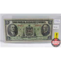 The Royal Bank of Canada $5 Bill 1935