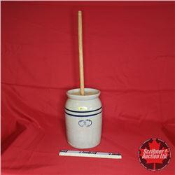 "Marshall Pottery 2 Gallon Butter Churn Crock ""Marshall, Texas"""