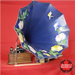 Thomas Edison Model H Cylinder Gramophone with Floral Horn & 4 Cylinder Records (S/N#S31406)