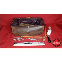 Doctors Bag with Assorted Leather Punch Tools etc