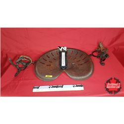 Implement Seat with 2 Sets of Spurs & Cast Cow Wall Thermometer