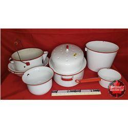Enamelware (Red & White) 7 pcs