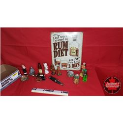 Tray Lot: Collection of Miniature Themed Booze Bottles & Rum Diet Tin Sign